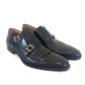 Magnanni Double Monk Strap Shoe in Black